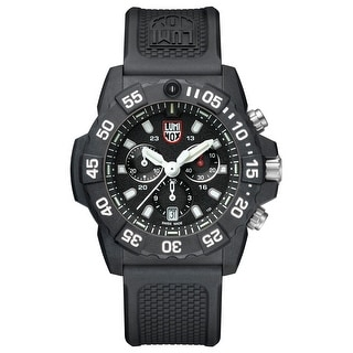 Link to Luminox Men's XS.3581 Navy Seal 45mm Chrono with White Accents Black Rubber Strap Watch Similar Items in Men's Watches