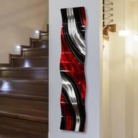Statements2000 Red/Black/Silver Metal Wall Art Accent Sculpture by Jon Allen - Critical Mass Wave