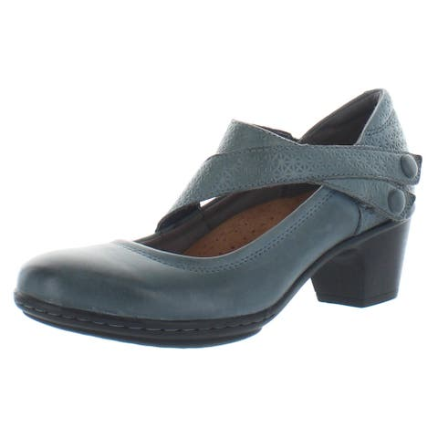 Cobb Hill by Rockport Womens Kailyn Mary Jane Heels Leather Embossed - Navy