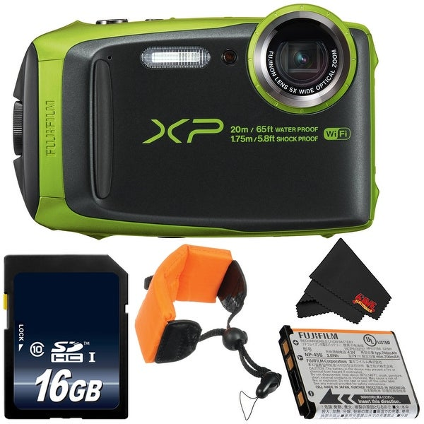 Fujifilm FinePix XP120 Digital Camera Bundle w/ 16GB SDHC Class 10 Memory Card + MicroFiber Cloth