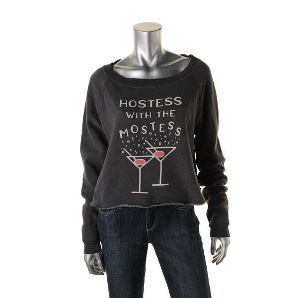Wildfox Womens Crop Sweater Raw Hem Graphic