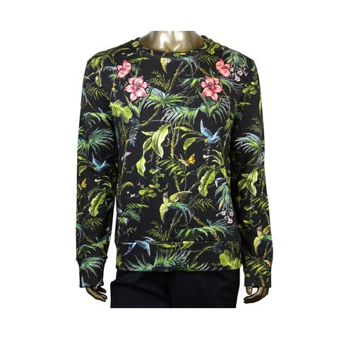 Gucci Men's Tropical Jungle Black / Green / Blue / Pink Felted Cotton Sweatshirt 408241 3118