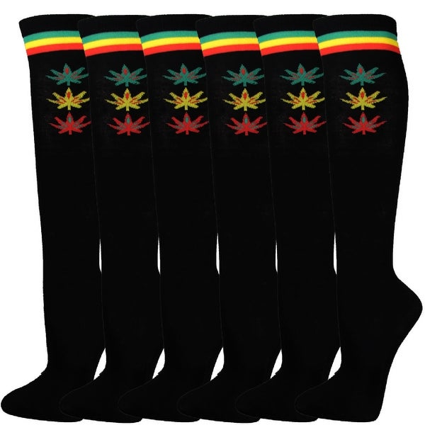 Women Black Rasta Stripes with Weed Leaf Tube Knee High Socks(6 pairs)