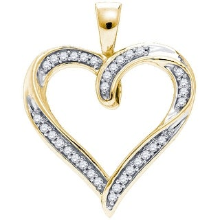 Heart Pendant Micro Pave 10K Yellow-gold With Diamonds 0.1 Ctw By MidwestJewellery - N/A