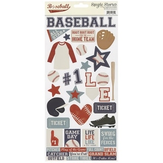 """Simple Sets Baseball Cardstock Stickers 6""""X12""""-"""