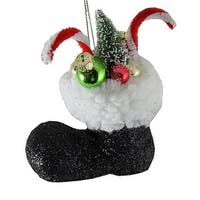 4.5 in. Santa Claus Classics Black Glitter Boot with Gifts