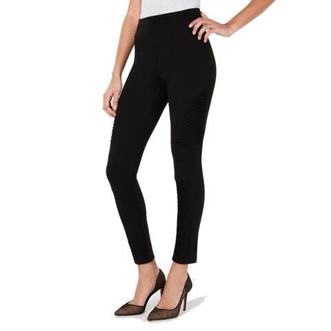 INC Women's Moto High-Waist Comfort Tummy-Control Leggings, Black, XS