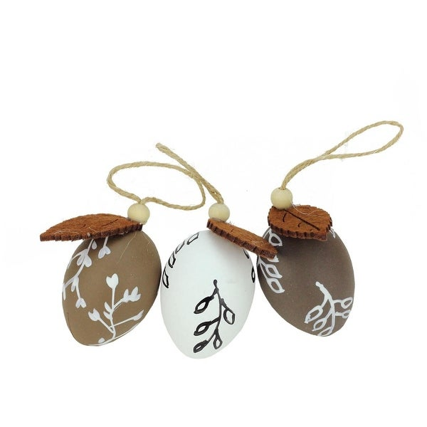 "Set of 3 Brown and White Painted Design Spring Easter Egg Ornaments 2.25"" - N/A"