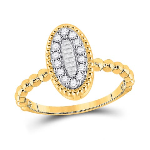 10k Yellow Gold Womens Baguette Diamond Oval Cluster Ring 1/4 Cttw