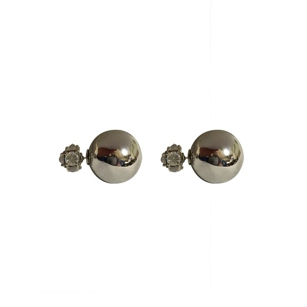 max & MO Stud Metallic Silver Front-Back Earring