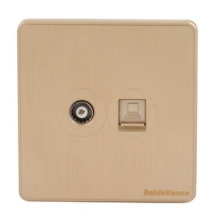 Compter + Cable TV 2 Port Socket Outlet Wall Plate Golden Tone 86mmx86mm