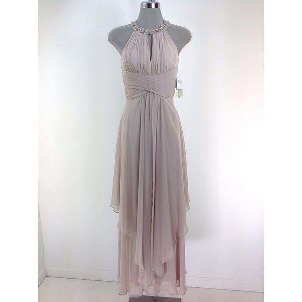 Shop Women\'s Eliza J Embellished Tiered Chiffon Halter Gown, Beige ...
