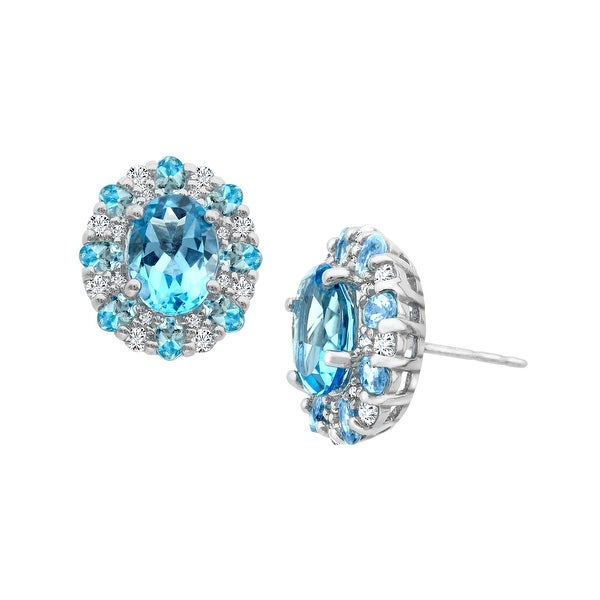4 1/2 ct Natural Swiss Blue and White Topaz Stud Earrings in Sterling Silver