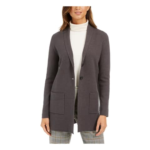 CHARTER CLUB Womens Gray Heather Blazer Wear To Work Coat Size XS