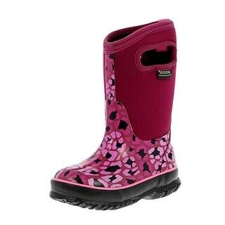 """Bogs Boots Girls Kids 10"""" Classic Leopard Waterproof Rubber"""