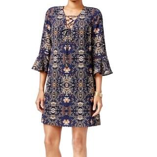 Jessica Simpson NEW Navy Blue Printed Women's 2 Lace-Up Sheath Dress