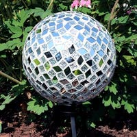 Sunnydaze Mirrored Diamond Mosaic Outdoor Garden Gazing Globe Ball - 10-Inch