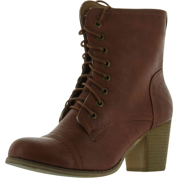 Refresh Ariel Women's Round Toe Lace Up Ankle Bootie On Chunky Heels - Cognac