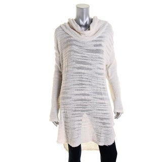 Free People Womens Cowl Neck Distressed Tunic Sweater - XS