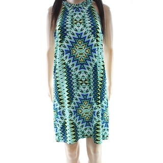 Laundry NEW Green Blue Women's Size XS Printed Halter Shift Dress