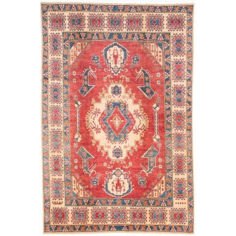 "ECARPETGALLERY Hand-knotted Finest Gazni Burgundy Wool Rug - 6'10"" x 10'2"""