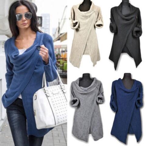 Irregular Single Button Cardigans Sweater Women Loose Women Knitted Outerwear