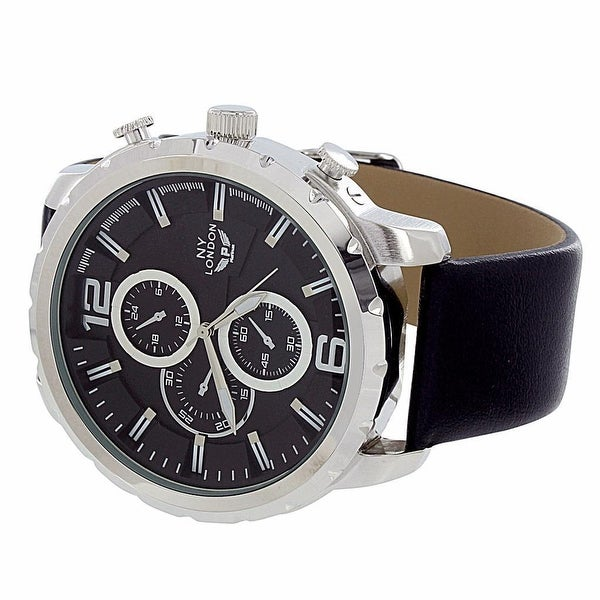 Mens NY London Watch Black Leather Band Analog Display Chronograph Stylish