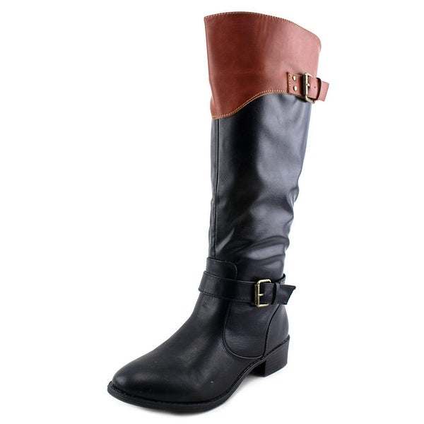 Rampage Ives Women Round Toe Leather Black Knee High Boot