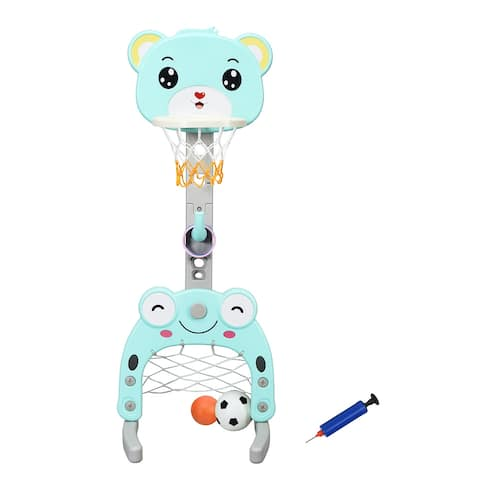 Costway Adjustable Kids 3-in-1 Sports Activity Center Basketball Hoop Set Stand W/Balls - Cyan+Gray