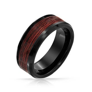 Mens Wedding Band Ring Black Tungsten Blue Carbon Inlay Comfort Fit 8mm