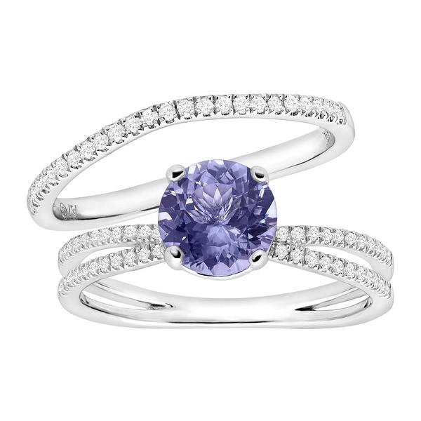 1 1/4 ct Natural Tanzanite & 1/4 ct Diamond Engagement Ring Set in 14K White Gold - Purple