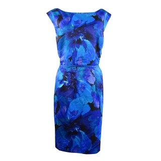 Tahari Women's Floral Print Pocket Boat Neck Dress