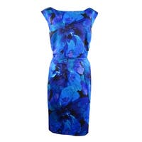 Tahari Women's Floral Print Pocket Boat Neck Dress - royal/purple/black