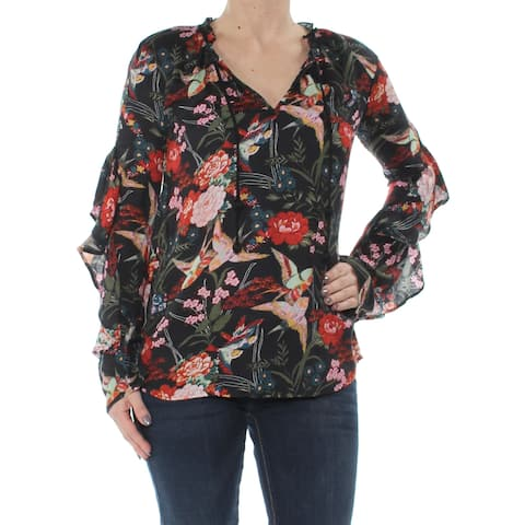 JESSICA SIMPSON Womens Red Ruffled Sleeve Printed Long Sleeve Tie Neck Tunic Top Size: XS