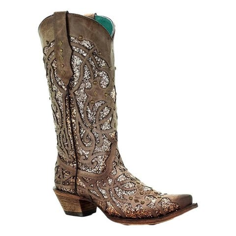 Corral Western Boots Womens Leather Snip Glitter Inlay Studded