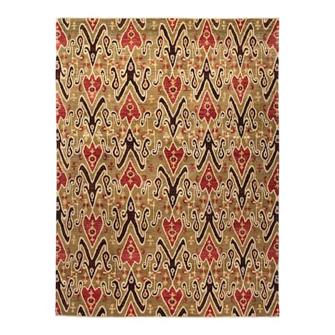 """Eclectic, One-of-a-Kind Hand-Knotted Area Rug - Gray, 8' 10"""" x 11' 8"""" - 8' 10"""" x 11' 8"""""""