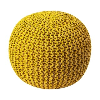 Offex Modern Accent Round Woven Pouffe - Yellow