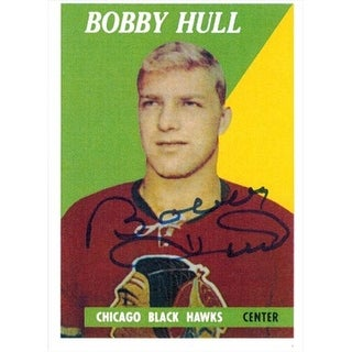 Bobby Hull Signed Blackhawks 1958-59 Rookie Re-print Card