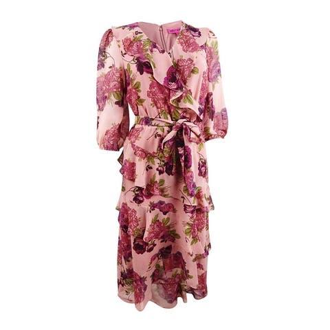 Betsey Johnson Women's Ruffled Floral-Print Dress - Pink Multi