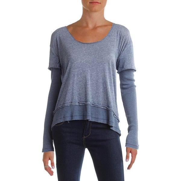 Free People Womens Magic Pullover Top Layered Look Long SLeeves