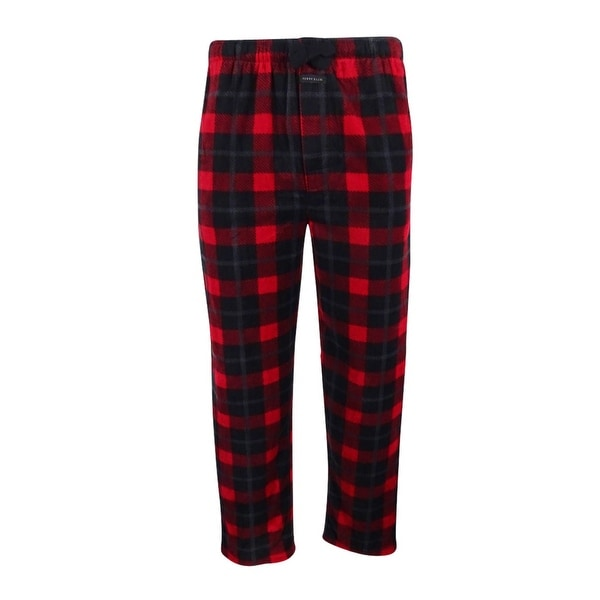 Shop Perry Ellis Men S Plaid Fleece Pajama Pants Black Red M