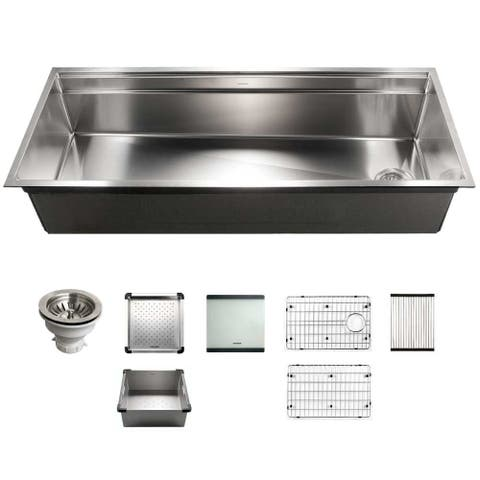 """Houzer NVS-6500 Novus 45"""" Undermount Single Basin Stainless Steel - Stainless Steel"""