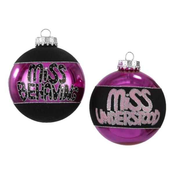 "Set of 4 Fashion Avenue Miss Behaving Glass Ball Christmas Ornaments 3.25"""