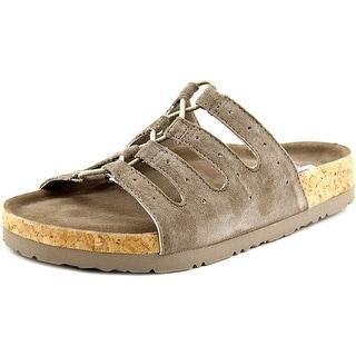 Skechers Relaxed Fit Granola Wrap It Up Women Open Toe Suede Gray Slides Sandal