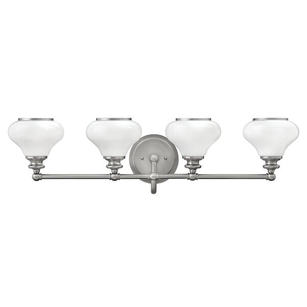 Hinkley Lighting 56554 4 Light Bathroom Vanity Light with Frosted Glass Shades from the Ainsley Collection