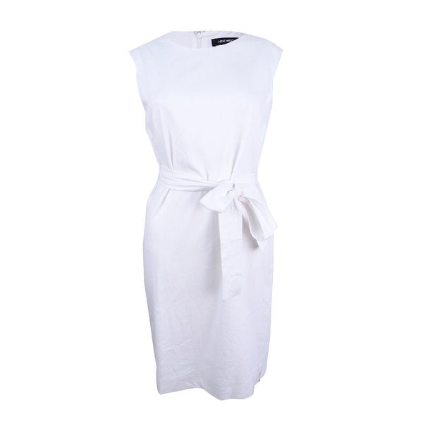 19435a451a5 Shop Nine West Women s Belted Sheath Dress - White - On Sale - Free  Shipping Today - Overstock - 21530573