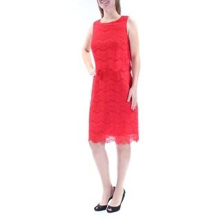 ANNE KLEIN $139 Womens 1013 Red Jewel Neck Sleeveless A-Line Party Dress 4 B+B