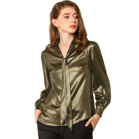 Allegra K Women's Sparkly Metallic Office Tie Neck Blouse Top