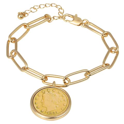 "Gold Layered Liberty Nickel Coin Goldtone Elongated Link Bracelet - 7"""