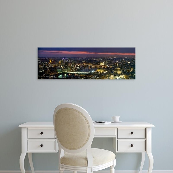 Easy Art Prints Panoramic Images's 'View of the city lit up at dusk from Tower 42, London, England' Premium Canvas Art